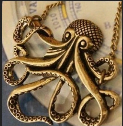 50pcs top quality gold plating Exaggerated personality vintage pretty octopus  necklace women alloy punk  fashion hot<br><br>Aliexpress