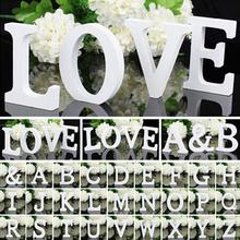26 Romantic White Wooden Alphabet Letters / Wall Hanging Nursery Decor Crafts Alphabet Wedding Birthday Home Decor(China (Mainland))