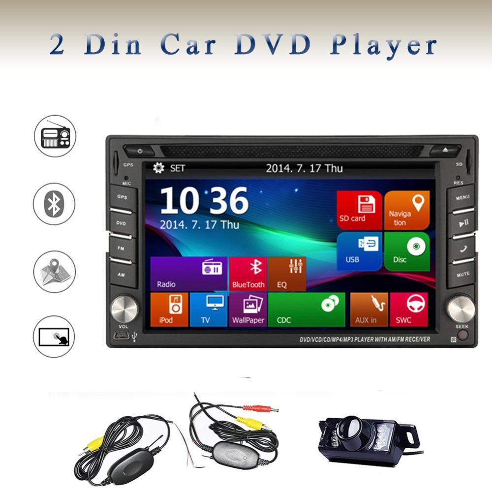 Car radio stereo DVD Player 6.2 inch Double 2 DIN In Dash GPS Navigation Headunit Radio Player Car Audio Bluetooth+Wiress Camera(China (Mainland))