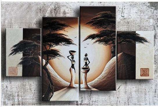 Trasporto libero 4 pezzi astratta africana donne figura nella foresta pittura a olio di paesaggio 100% handmade su tela di canapa(China (Mainland))