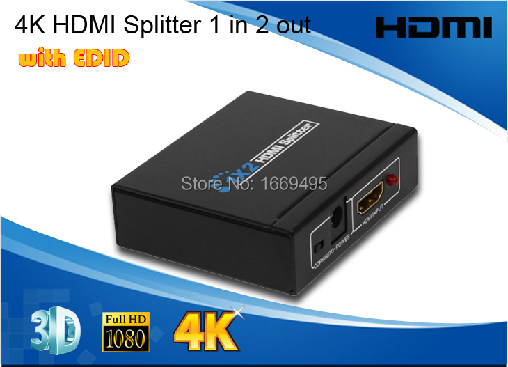 2ports V1.4 HDMI Splitter Special 4K 3D 1080P 1x2 with EDID better compatibility and stable 2 ports distributor for DVD STB PS3(China (Mainland))