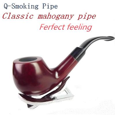 Fashion Men s Wooden Smoking Pipe New Loop Filter Mahogany Smoking Pipe Men s Smoking Pipe