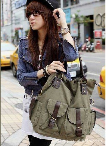 2015 New Fashion women large capacity handbags Canvas Shoulder bag multi pocket messenger bags - ShenZhen Webuy E-Commerce Co., Ltd. store