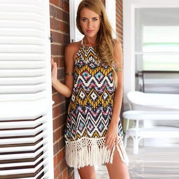 Feitong 2015 лето богемия стиль сексуальная спинки рукавов кисти отпечатано оболочка шифон ну вечеринку пляж мини dresss бесплатная доставка