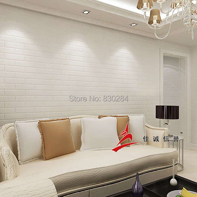 Modern 3d brick wall paper for living room bedroom white for Living room paper