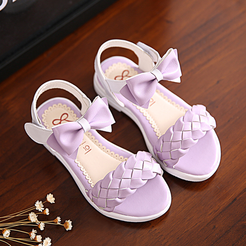 Girls Sandals 2016 Summer New Style Weave Bow Princess Soft Soles Kids Sandals Children Shoes(China (Mainland))