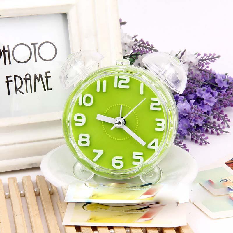 2015 New Imitation Crystal Double bell alarm clock luminous watches mute scanning round supply(China (Mainland))