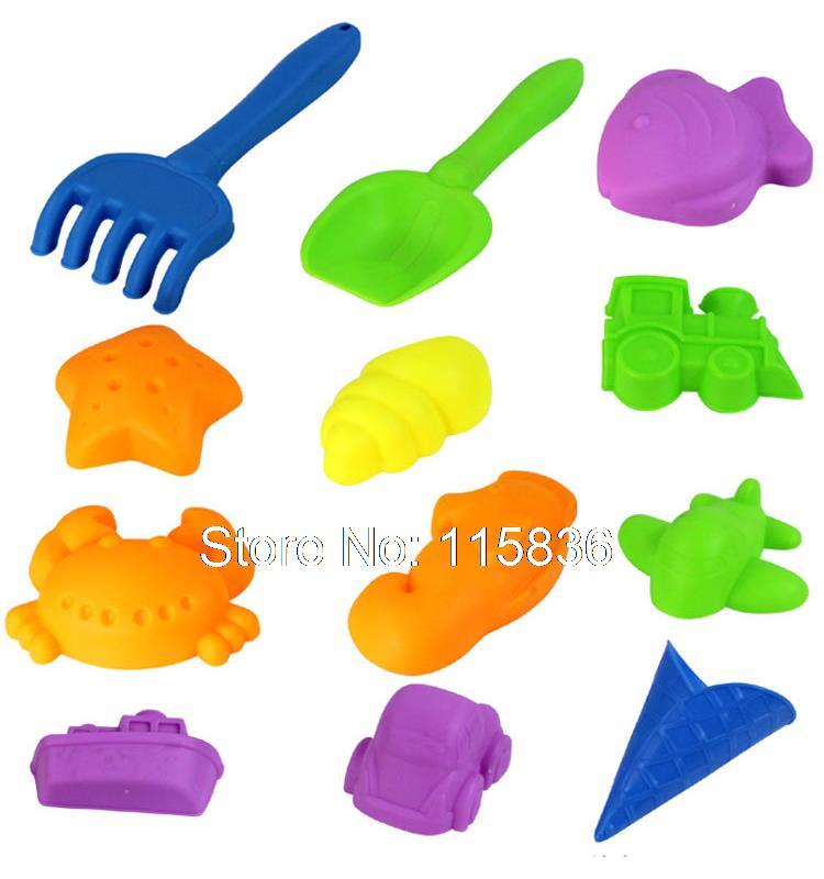 Children play sand 12 pieces Pack space cartoon beach sand on Mars moon magic sand plastic molds for kids random colors
