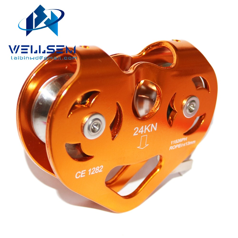 24KN Zipline Cable Trolley Aluminum Pulley / Dual Pulley / High Speed For Rock Climbing / Rescue / Garden and Home Working(China (Mainland))