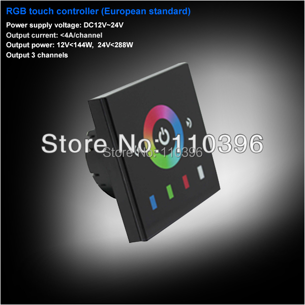 Europe standard dc 12v 24v 3 channel led dimmer touch panel dimmer,touch lamp control switch rgb led controller,4A/channel<br><br>Aliexpress