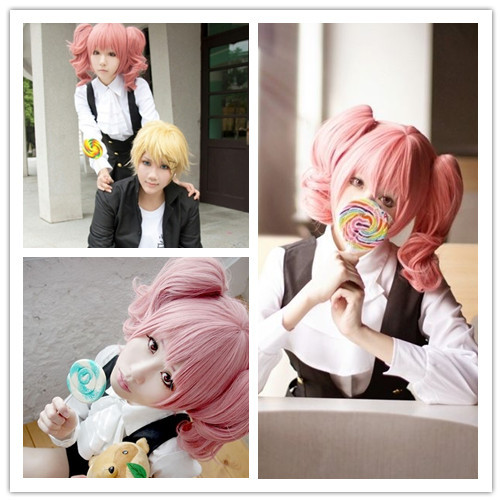 Free Shipping Sexy Girl 35cm Medium Wavy Inu x Boku SS Karuta Roromiya Pink Braided Cosplay Wig