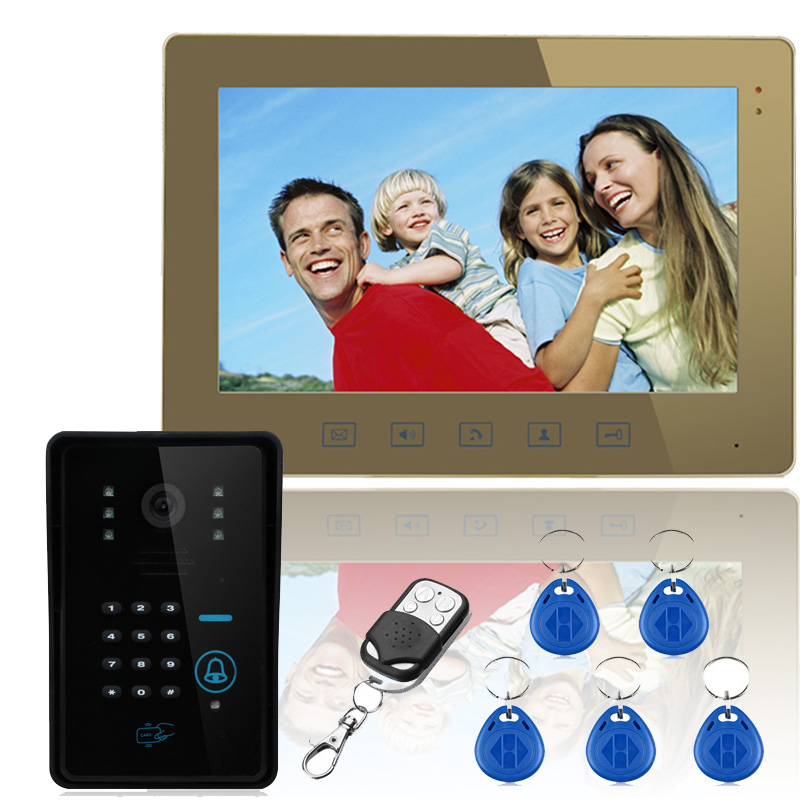 "FREE SHIPPIG 10"" Lcd RFID Password Video Door Phone Intercom System Wth IR Camera 1000 TV Line Remote Access Control System(China (Mainland))"