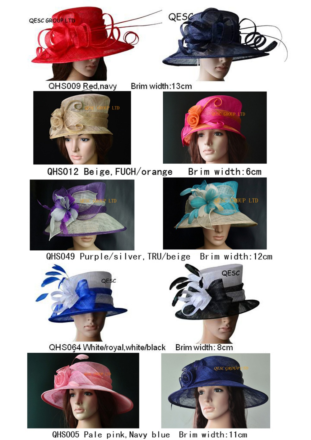Wide Brim Hot Dress Sinamay Hats Organza hat sell in mix styles,church wedding races.FREE SHIPPING BY EMS,10pcs/lot(China (Mainland))