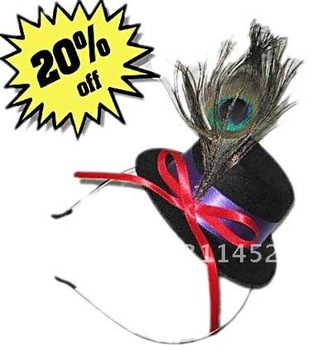 peacock feather christmas party mini hat fascinator,black hat with ribbon bowtie attached on a band.6pcs/lot
