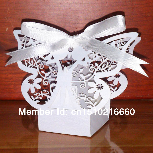 2014 New Hot DHL shipping 300pcs White Flower Laser cut Wedding Candy box with White Ribbon,sugar Chocolate wedding favor box(China (Mainland))
