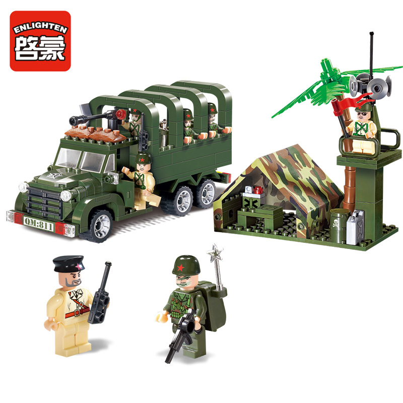 ENLIGHTEN 811 Combats Zone Military Detection Missile Vehicle Trooper Carrier Truck Model Building Blocks Minifigures Kids Toys(China (Mainland))