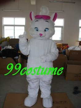 Free Shipping Adult Size Lovely Long Hair White Cat Cosplay Mascot Costume Cosplay Christmas Hallowmas Party Dress
