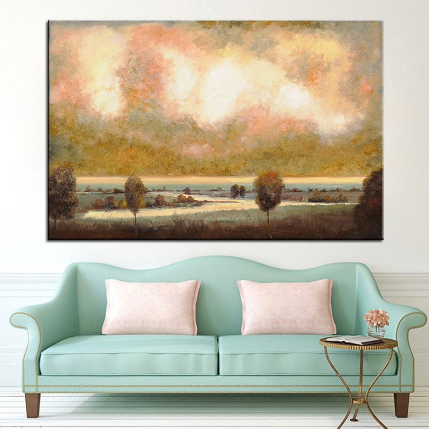 Large size Print Oil Painting Wall painting Lo Stagno Sotto Al Cielo Decor Wall Art Picture For Living Room paintng No Frame(China (Mainland))
