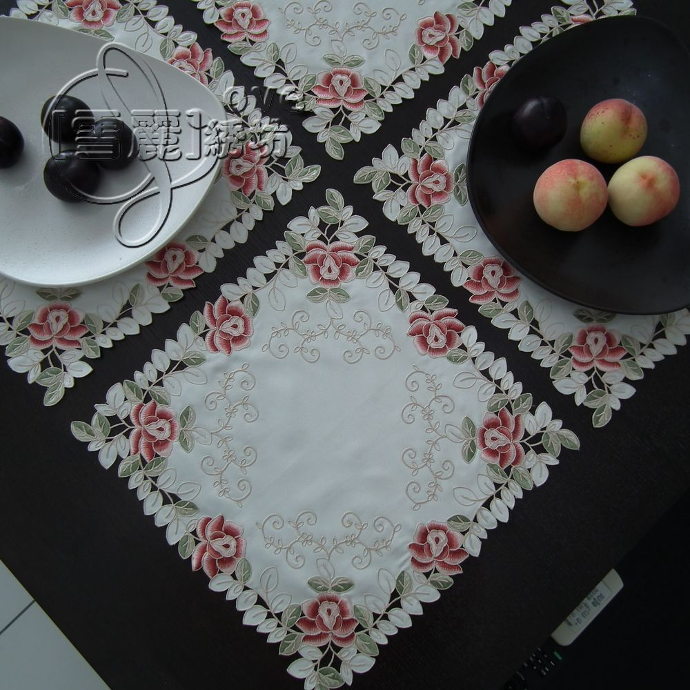 Rustic fabric embroidery table cloth table placemat disc pads telephone speaker cutout cover towel colorful rose(China (Mainland))