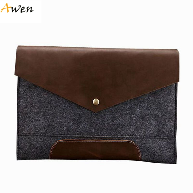 Awen - 2 Colors Panlled Felt Envelope Clutches For Men,Flip-open Cover Ultra-thin Genuine Leather Men Clutch,Business Men Folder<br><br>Aliexpress