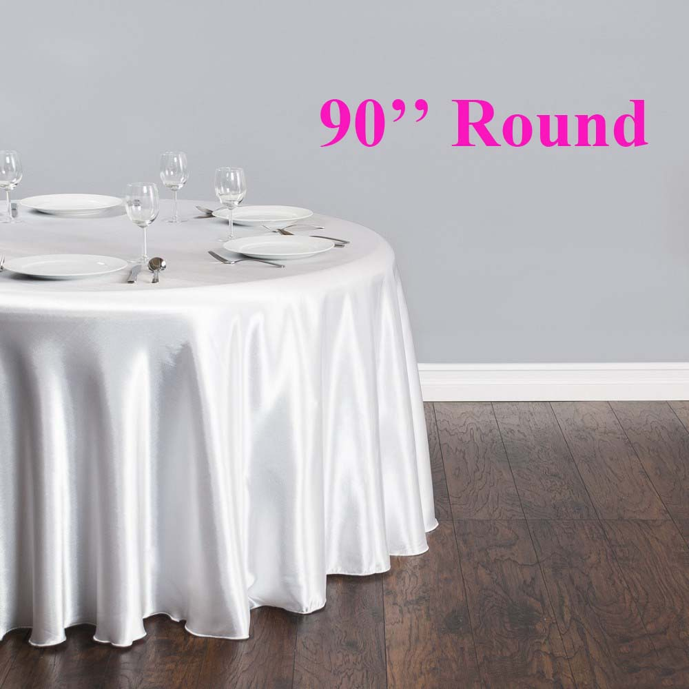 Free Shipping 10pcs 90'' Round Cheap White Satin Table Cloth Banquet Table Cover Wedding Table Linens(China (Mainland))