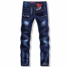 New Arrival 2015 Fashion Autumn Winter Jeans Men Denim Zipper Pants Slim Fit Patchwork Jeans Pants Straight Trousers Plus Size(China (Mainland))