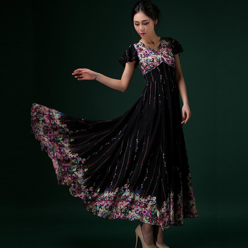 2015 Summer New Arrival Women Black Print Slim Chiffon Dress O-Neck Short Sleeve Bohemian Beach Dresses Casual Vestidos LS266