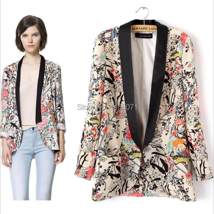 2014 New Women Vintage Flower Print Blazers Fashion Floral Blazer Suits For Women Jackets Brand ...