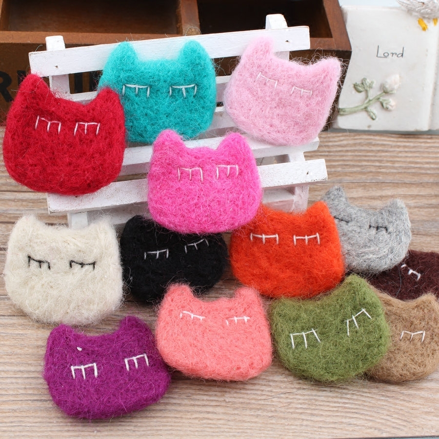 Free Shipping 20PCS Assorted Color Handmade Animal Cat Head Wool Felt Product Girl Hair Jewelry Toy Craft DIY Accessory Material(China (Mainland))
