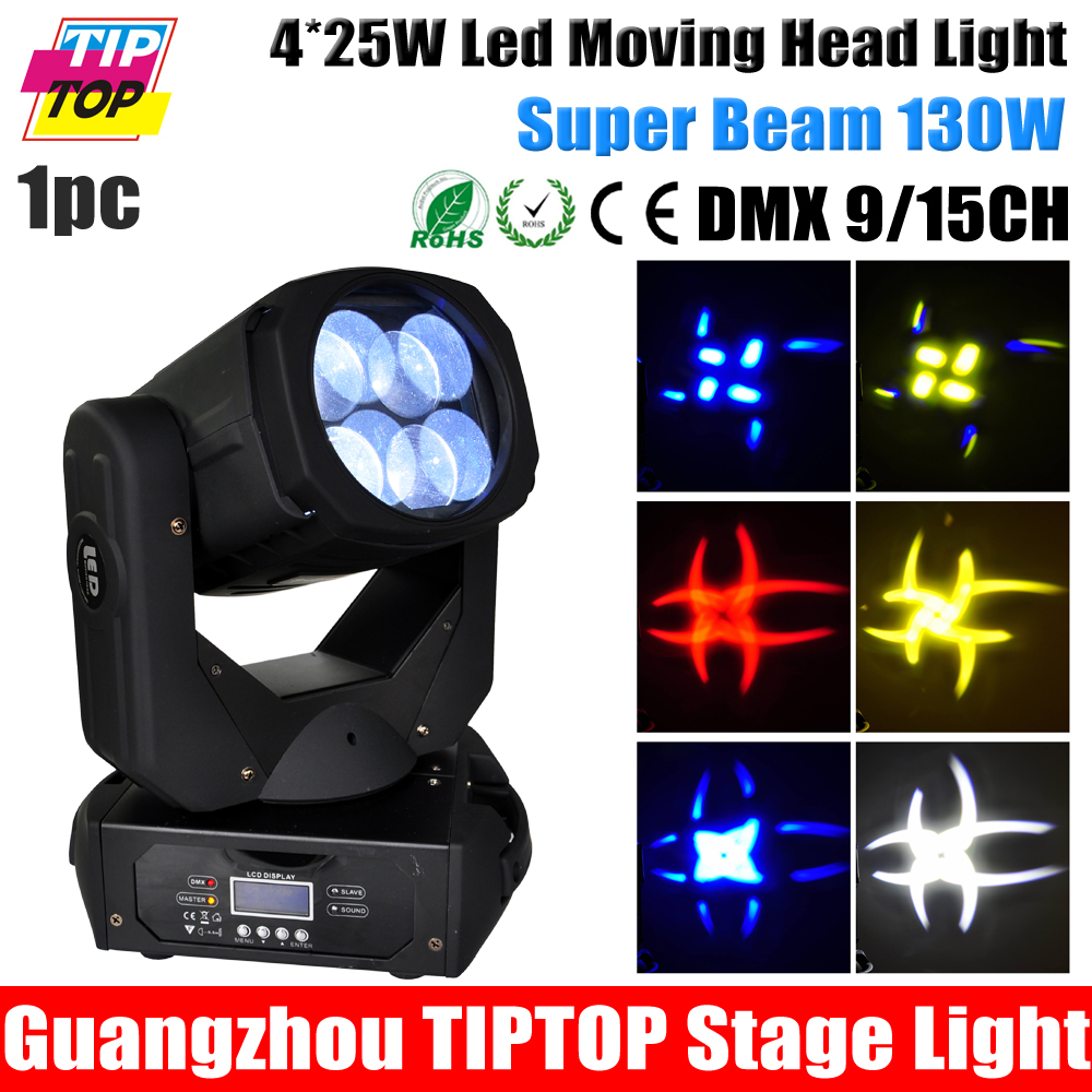 Manufacturer Direct Sell Sample 4*25W Led Super Beam Moving Head Light Red Blue Yellow White Color with Gobo Strobe Prism Effect<br><br>Aliexpress