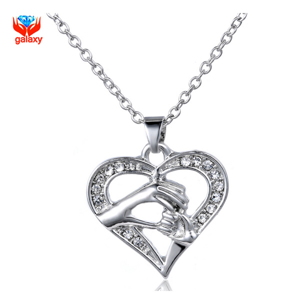 GALAXY Hot Trending Mom Mother Crystal Heart Pendant Necklace 100% 925 Sterling Silver Necklace for Mothers Day Gift YN167<br><br>Aliexpress