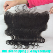 8A virgin Peruvian hair lace frontal closure 13x4 with free shipping body wave human hair ear to ear lace closure bleached knots(China (Mainland))