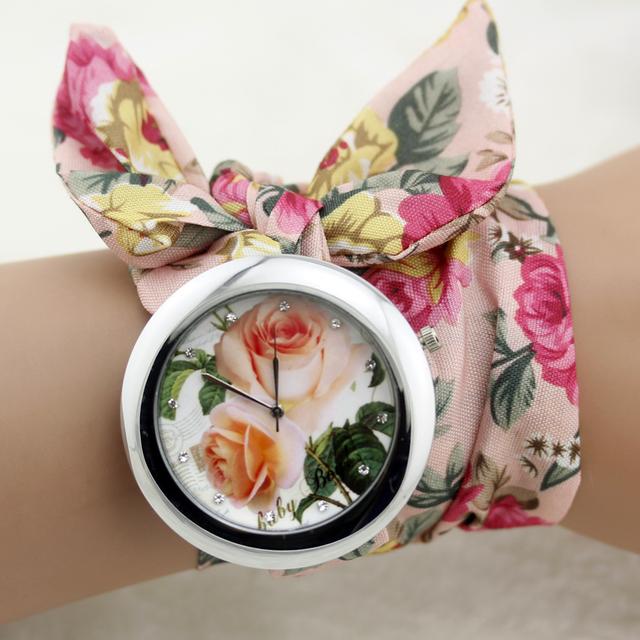 Zegarek damski długa opaska florystyczne wzory wiosenny różne kolory