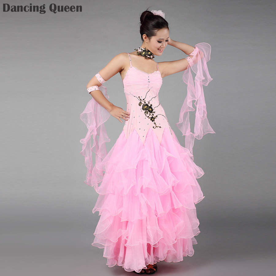 2015 New Lady Ballroom Dance Dresses For Sale Pink/White/Red Dance Ballroom Dress Standard Stage Costume Performance WomensОдежда и ак�е��уары<br><br><br>Aliexpress