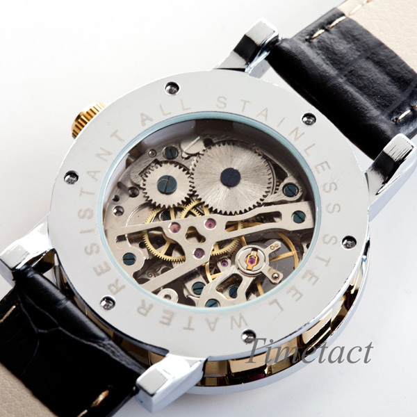 watch watches picture more detailed picture about mens full mens full steel skeleton watch men mechanical wind up analog stainless gold black watch