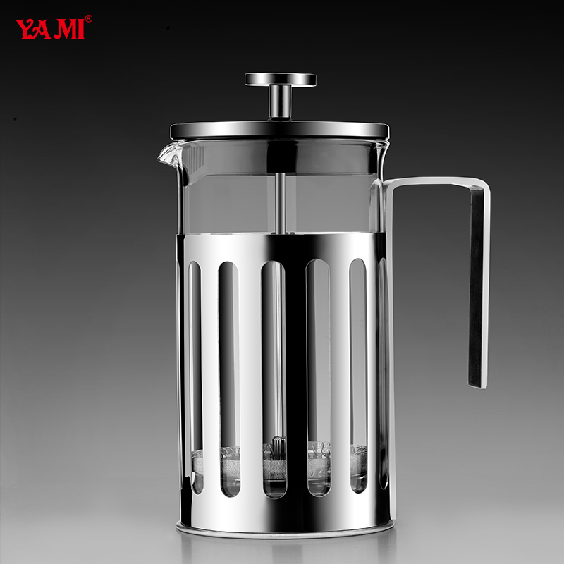 free shipping French press coffee pot pressure pot method stainless steel coffee pot glass tea maker(China (Mainland))