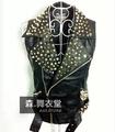 Стиль Модный silver Красный Зеленый male singer dancer sequins chains Жилет costume ...