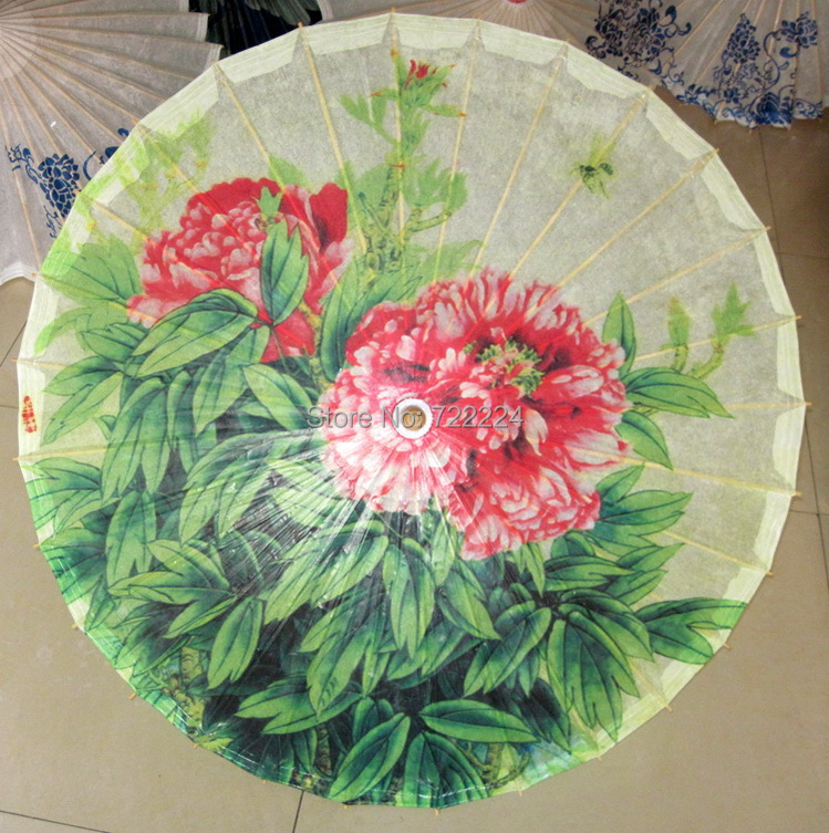 Free shipping Dia 84cm chinese craft classical peony painting oiled paper umbrella waterproof parasol decoration gift umbrella(China (Mainland))