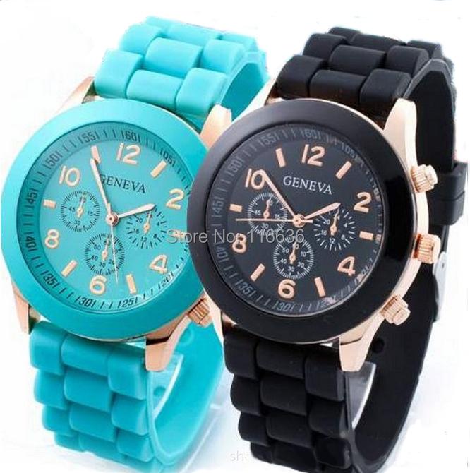 50 pcs golden Geneva Watch Silicone analog quartz casual dress women fashion wristwatch Ladies Korean wholesale LOT<br><br>Aliexpress