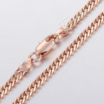 3mm Curb 18K Yellow/Rose Gold Filled Necklace Chain Men Women chain Unique Jewellery High Quality Jewelry GN151