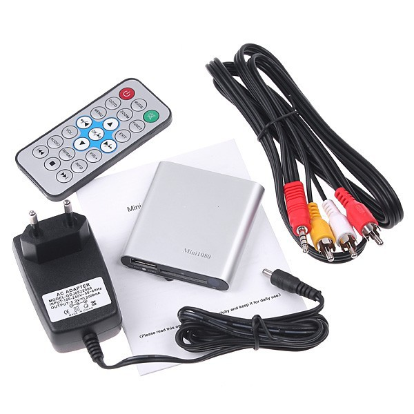 Mini 1080P Full HD Media Player High Definition 1920X1080P HDMI AV SD USB Media Player Remote HDMI Cable included Free Shipping!(Hong Kong)