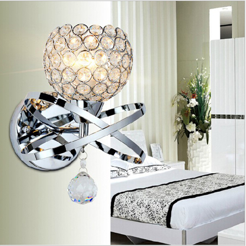 Crystal Beautiful Wall Lamp White Cover Colorful For Living Room E14 Light Source Can Be Installed LED Bulb