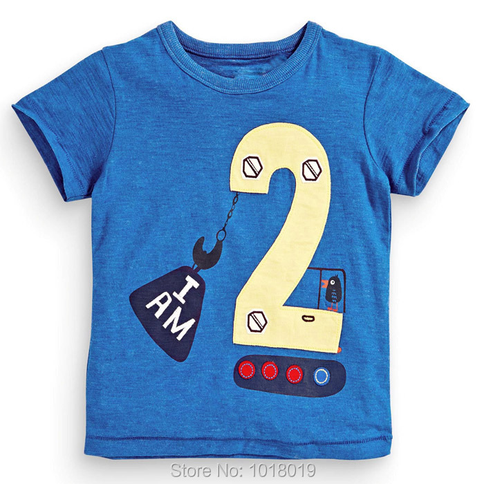 Lucky Number 2 Baby Boys Clothing 100% Cotton 2016 Toddler Children Kids Clothes Summer T-Shirt Short Sleeve Casual t Shirt Boys