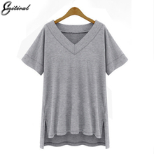 Buy 2017 Summer Plus Size XL-4XL 5XL Women Cotton Loose Tees Solid Color Casual V neck Tops Black Whie Grey T-shirt Female Clothing for $9.94 in AliExpress store