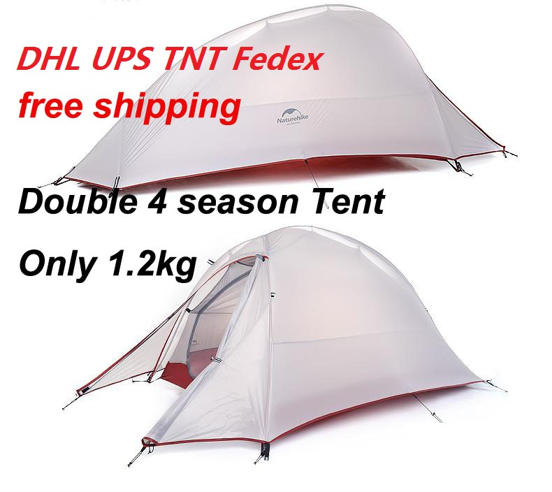 Outdoor Nature Hike Ultralight Camping Tent 20D Nylon Silicone 4 Season 2 Person Double Layer Waterproof Cheap Tents(China (Mainland))