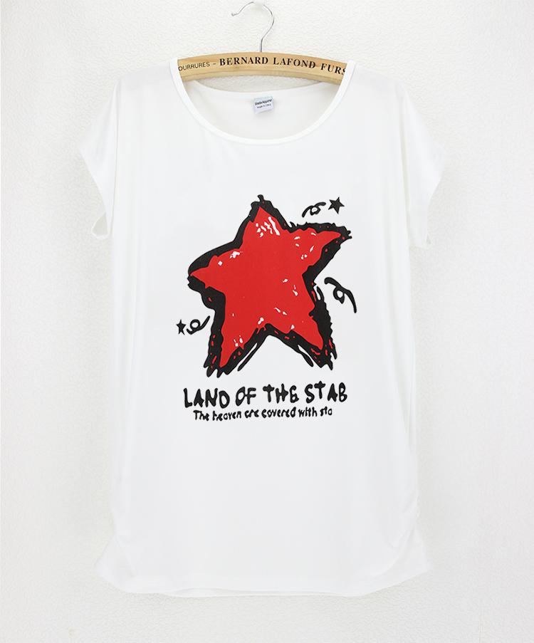 white O neck short sleeve summer style t shirt women cheap cotton flexible new trandy fashion design red star camisetas(China (Mainland))