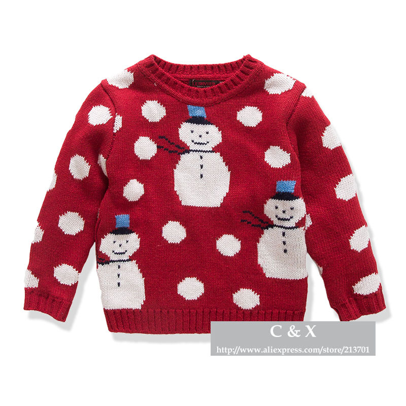 Knitting Pattern Christmas Cardigan : New-2015-Brand-Children-Sweater-Snowman-Pattern-Round-Neck-Baby-Boys-Girls-Th...