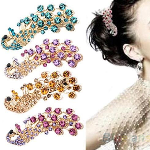 2013 Hot Selling New Fashion Peacock Full Crystal Rhinestones Hairpin Hair Clip Headwear Barrettes Accessories for WomenОдежда и ак�е��уары<br><br><br>Aliexpress