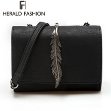Herald Fashion Leaves Decorated Mini Flap Bag Suede PU Leather Small Women Shoulder Bag Chain Messenger Bag Autumn New Arrival(China (Mainland))