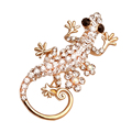 New Women Fashion Jewelry Gold Plated Brooch Gold Gecko Brooch With Crystal lizard Office Lady Clothing